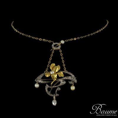 RARE Pendentif Broche Art nouveau Diamants Perles Or