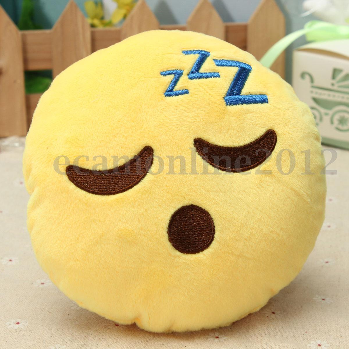Emoji Poo Forme Smiley Emoticônes Rond Oreiller Jaune Peluche Poupée