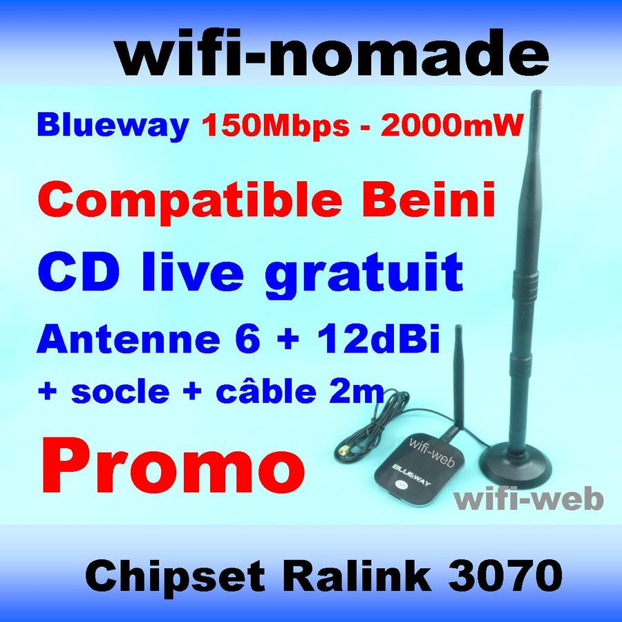 Carte Clé USB Wifi Blueway 2000mW antenne 6+12dBi
