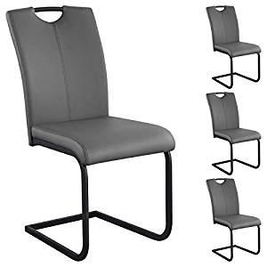Lot de 4 chaises de salle à manger MIRA piètement laqué noir simili