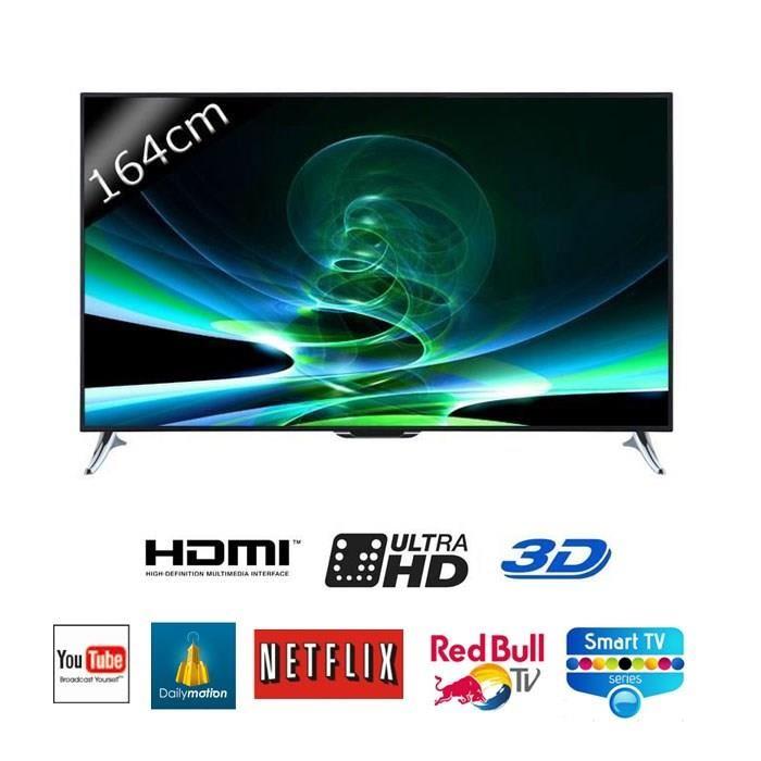CONTINENTAL EDISON 65252 Smart TV UHD 4K 3D 164cm téléviseur led