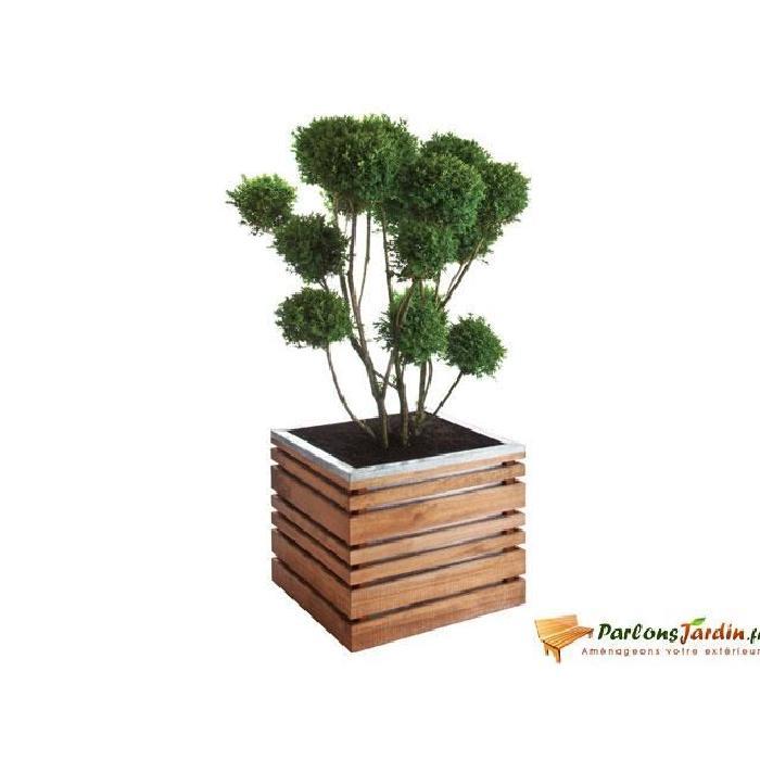 bac a fleurs en bois carre lign z 50