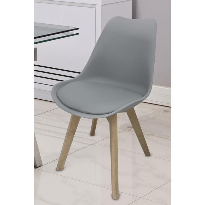 bjorn chaise de salle manger grise achat vente chaise pied bois - Chaise Salle A Manger Gris