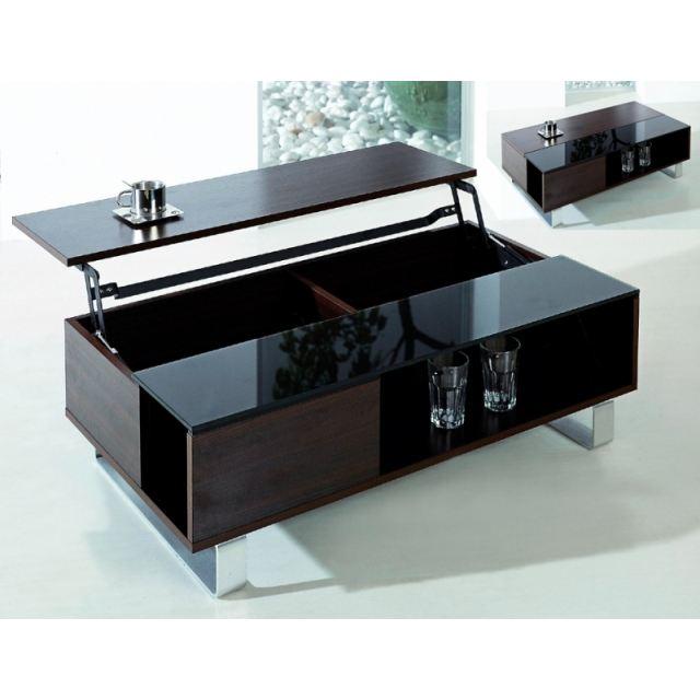 table basse TABLE BASSE PLATEAU RELEVABLE Métal, bois, verre