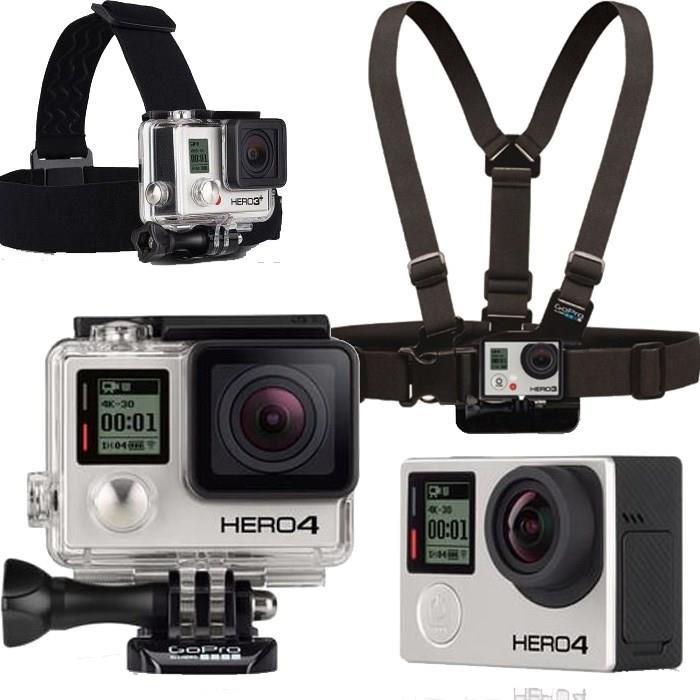 GoPro HERO4 Black + GoPro Harnais poitrine + GoPro Fixation frontale
