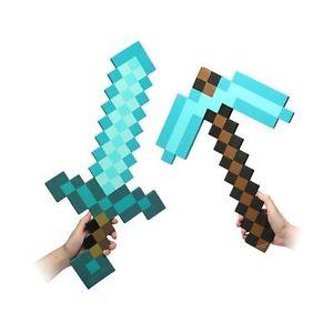 Minecraft gros diamant bleu épée pioche hache eva armes plush doll