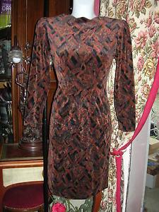 imprime cachemire Christine LAURE CEREMONIE SOIREE dress velvet 38