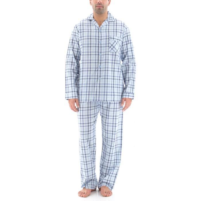 Pyjama homme CARREAUX CHICS. Bleu Achat / Vente pyjama chemise de