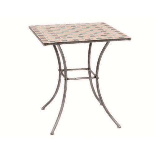 247010 Fiore Table Acier Argent/Noir/Mosaïque 64 x 64 cm? Table