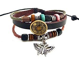 Agathe Creation Bracelet tibetain porte bonheur Papillon et pièce