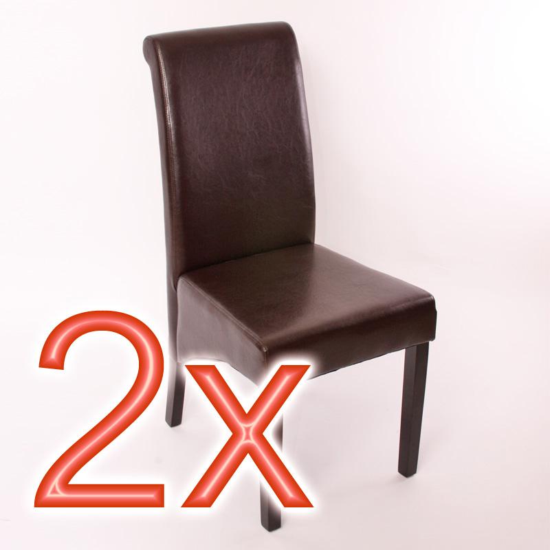 2x chaise de séjour M37, cuir ou imitation croco, noir/marron/rouge