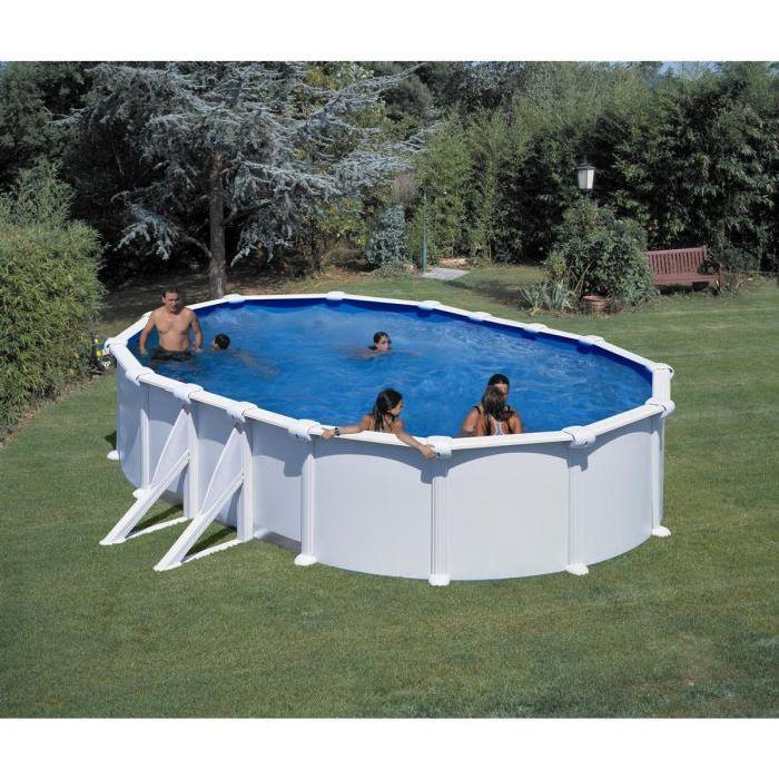 piscine ovale blanc 610x575x120cm acier Achat / Vente kit piscine