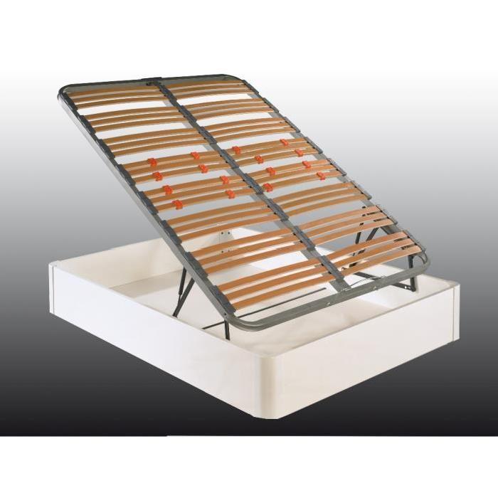 Lit coffre blanc relevable 140 cm Achat / Vente structure de lit