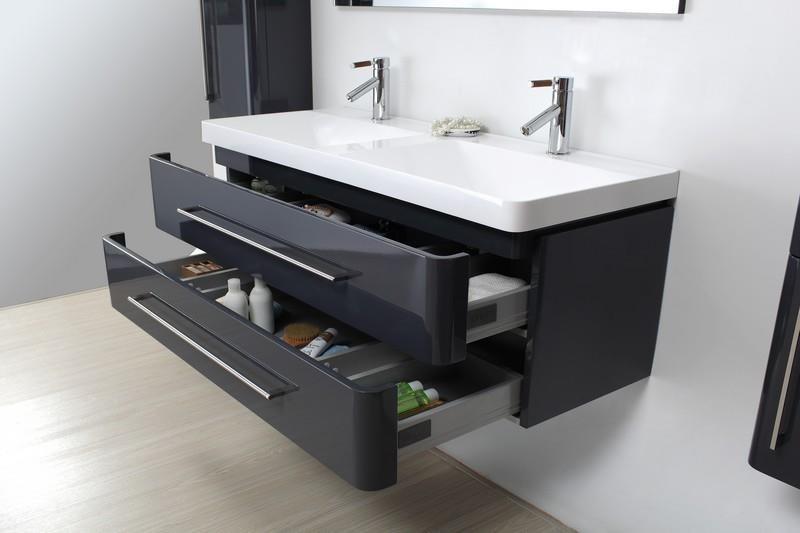 meuble salle de bain bois massif laque