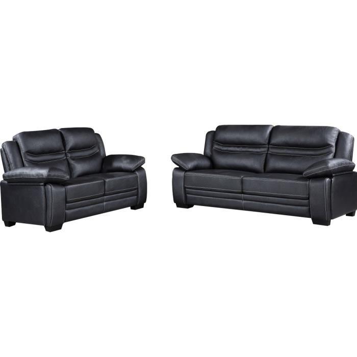 Ensemble fauteuil design en cuir 3+2 coloris noir Achat / Vente