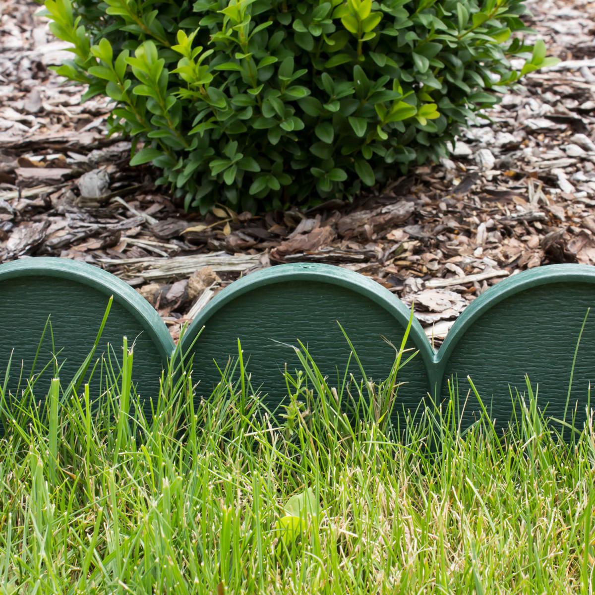 pour bordure de gazon et parterre de fleurs, palissade 10 m en vert