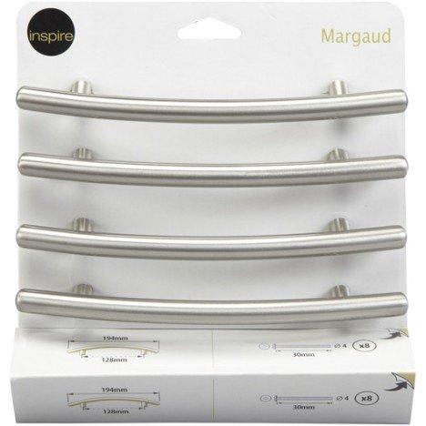 Lot de 4 poignées de meuble Margaud acier brossé, entraxe 128 mm