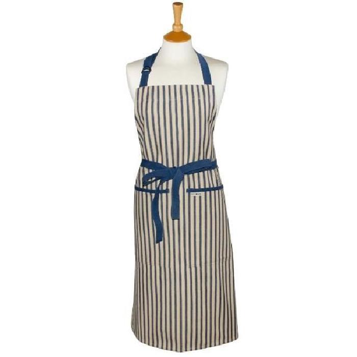 Tablier de cuisine rayé bleu foncé Long Kolaba Stripe Tablier de