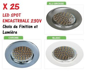 LOT DE 25 SPOT ENCASTRABLE FIXE LED GU10 230V AVEC 60 LED SMD = 45 50W