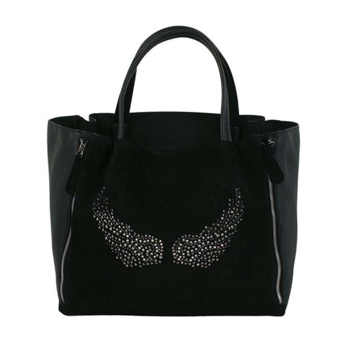 Grand sac à main ailes d'ange strass noir Achat / Vente Grand sac