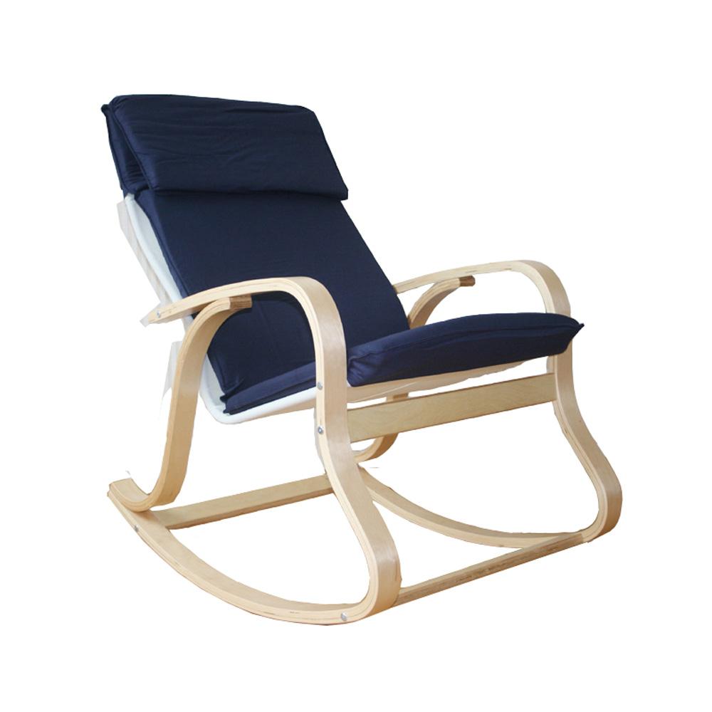Fauteuil À Bascule Relax Chaise Chaise EN Bois Naturel ET Bleu