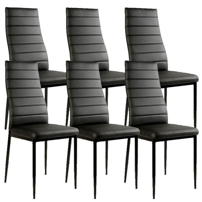 Lot de 6 chaises noir matelassé design Achat / Vente canapé sofa