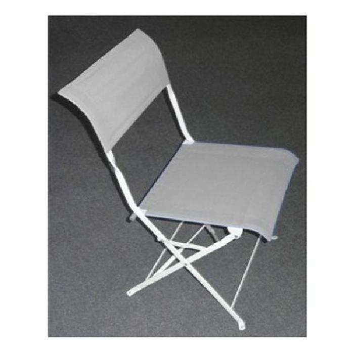 chaises pliantes metal textilene Gris et Blanc Achat / Vente