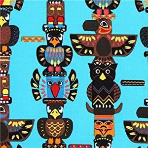 Tissu Indian Totem turquoise poteaux avec des totems indiens