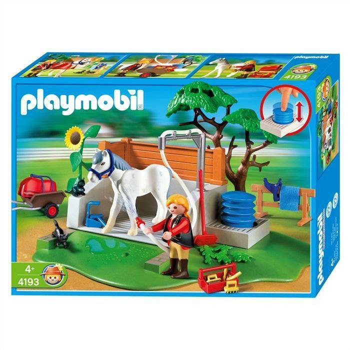 PLAYMOBIL 4193 Box lavage chevaux Achat / Vente univers miniature