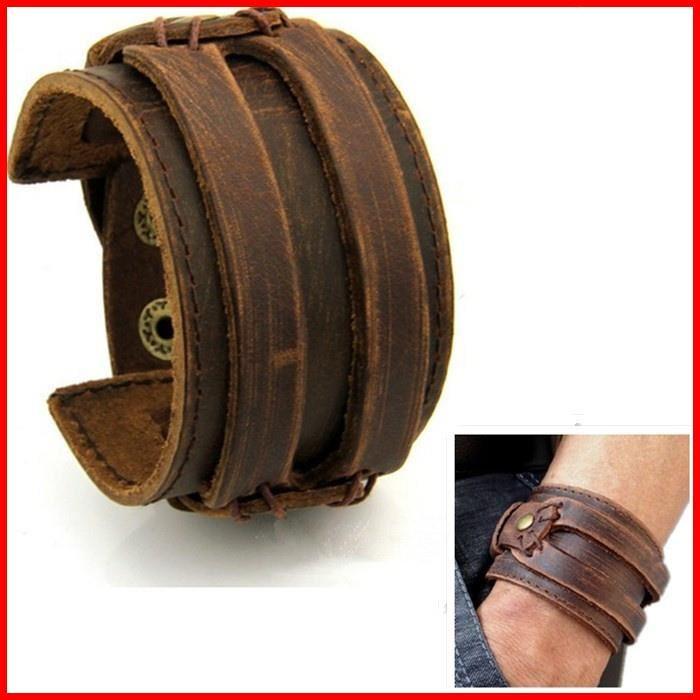 Bracelet Cuir HOMME FORCE Manchette MARRON Antique Achat / Vente