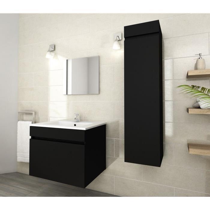 LUNA Ensemble de salle de bain simple vasque 60 cm Noir mat Achat