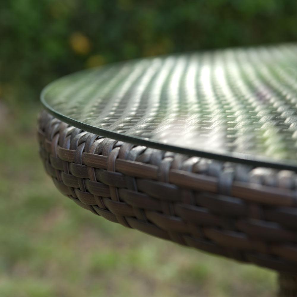 GreenPath Salon jardin Résine tressée chocolat : Table ronde 100cm