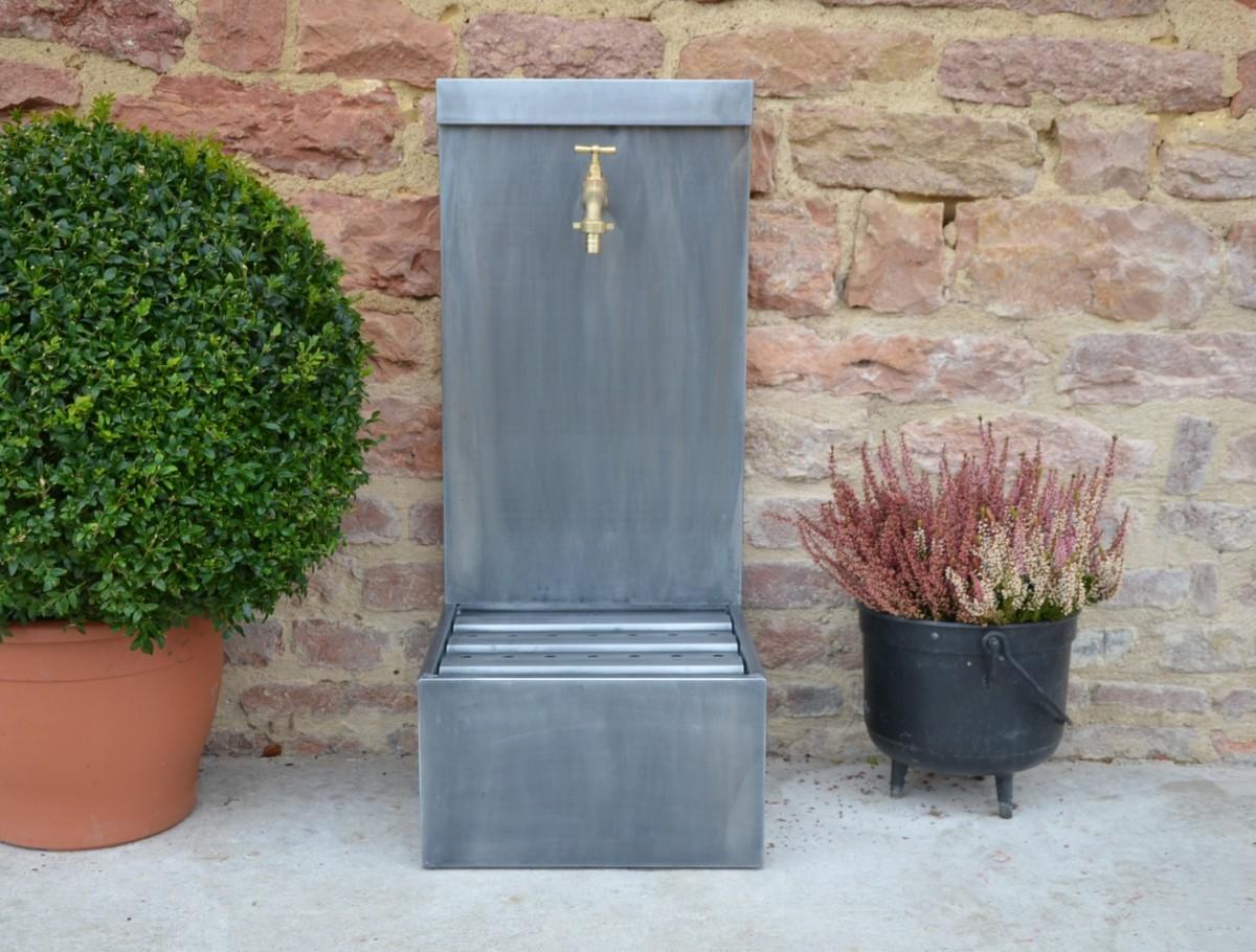 Fontaine de jardin zinc patiné, Façade lisse, Hauteur 80 cm, bac H
