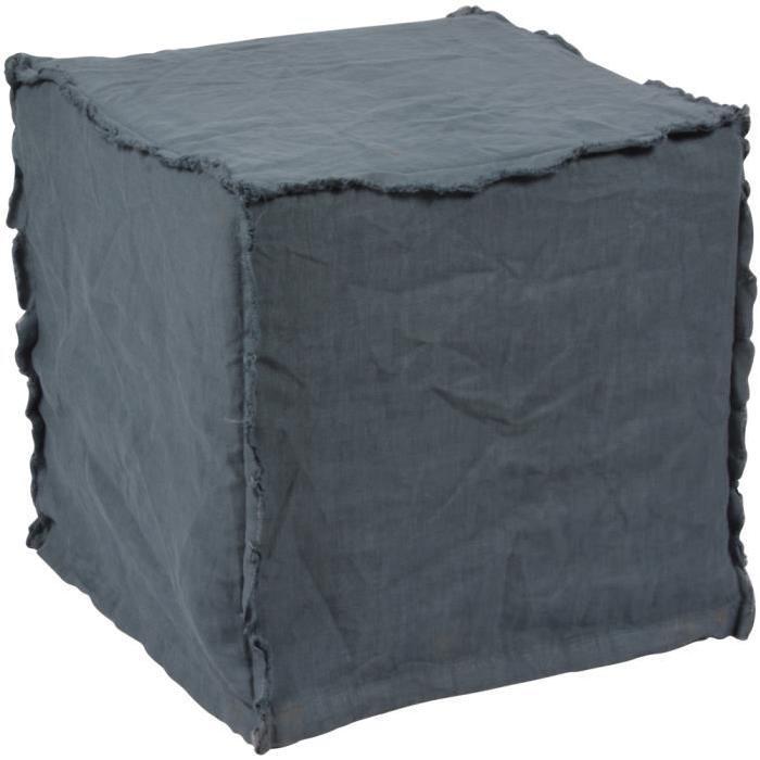 HOUSSE DE CHAISE Housse de pouf en lin lavé bleu azur (35x35x35cm)