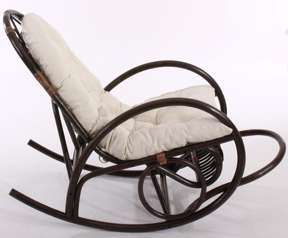 Rocking chair fauteuil à bascule Derby, bois marron, avec coussin