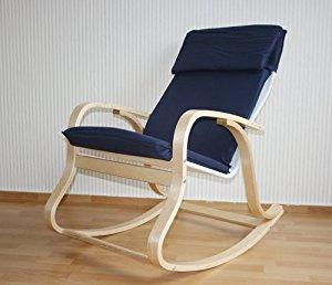 Rocking chair Fauteuil à bascule Relaxant Bleu PEGANE