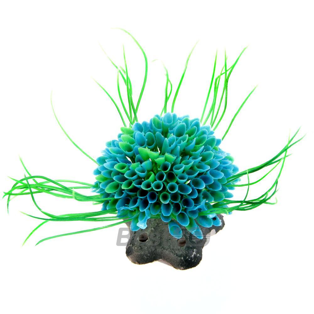 Plante Artificielle Herbe Aquatique en Plastique Bleu Vert Déco