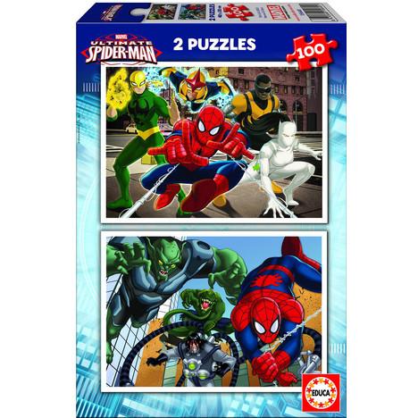 Puzzle 2 x 100 pièces : Ultimate Spider Man à prix : pas cher