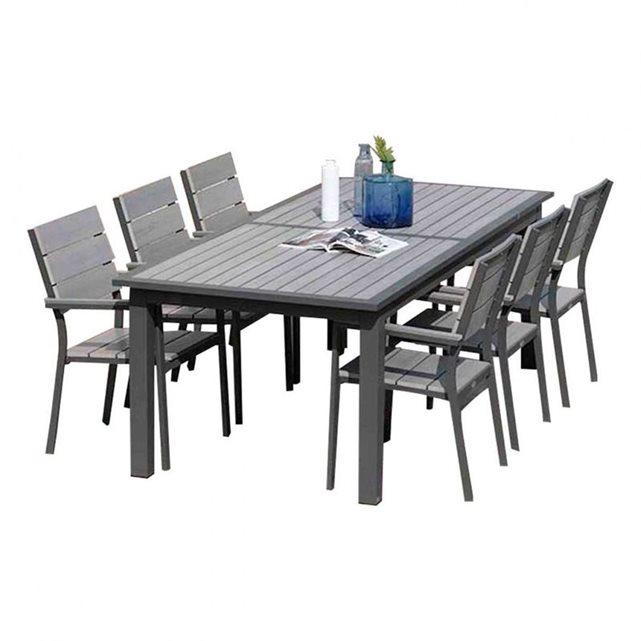 Salon de jardin table rallonge papillon + 6 fauteuils aluminium et