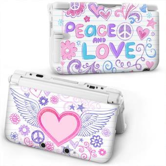 Coque Housse 3DS XL Peace Love Blanc Coeur Aile Ange Fleur Etoile Rose