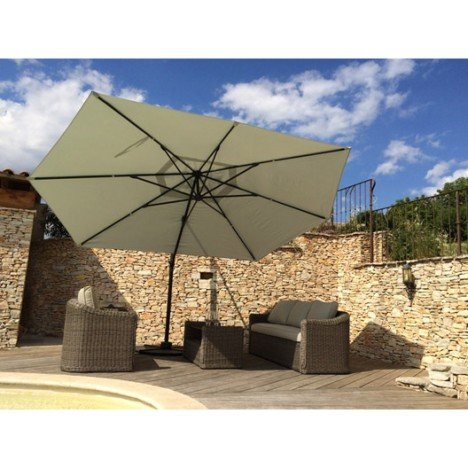 Parasol déporté Marco gris rectangulaire, L.420 x l.300 cm | Leroy
