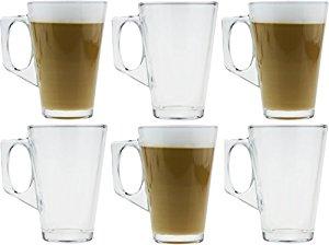 Coffret de 6 mugs en verre pour thé ou café 250 ml 11 cm de haut