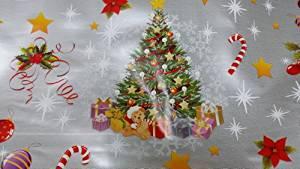 argenté Tissu en toile cirée PVC Motif Père Noël, bonhomme de