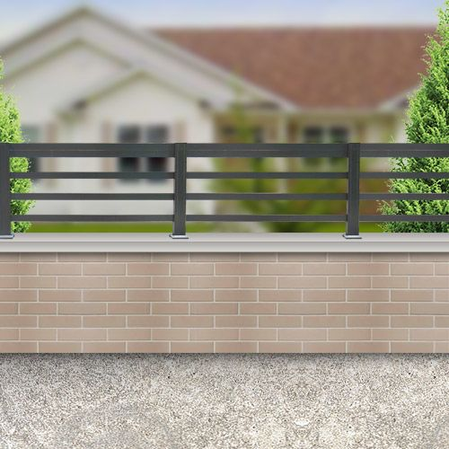 Emalu Clôture aluminium lisses horizontales 1.60×0.80m gris