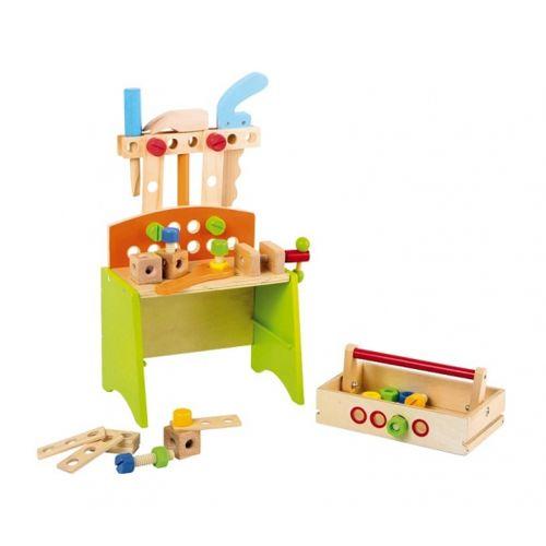 No Name Etabli complet tout en bois coloré pour enfants avec outils