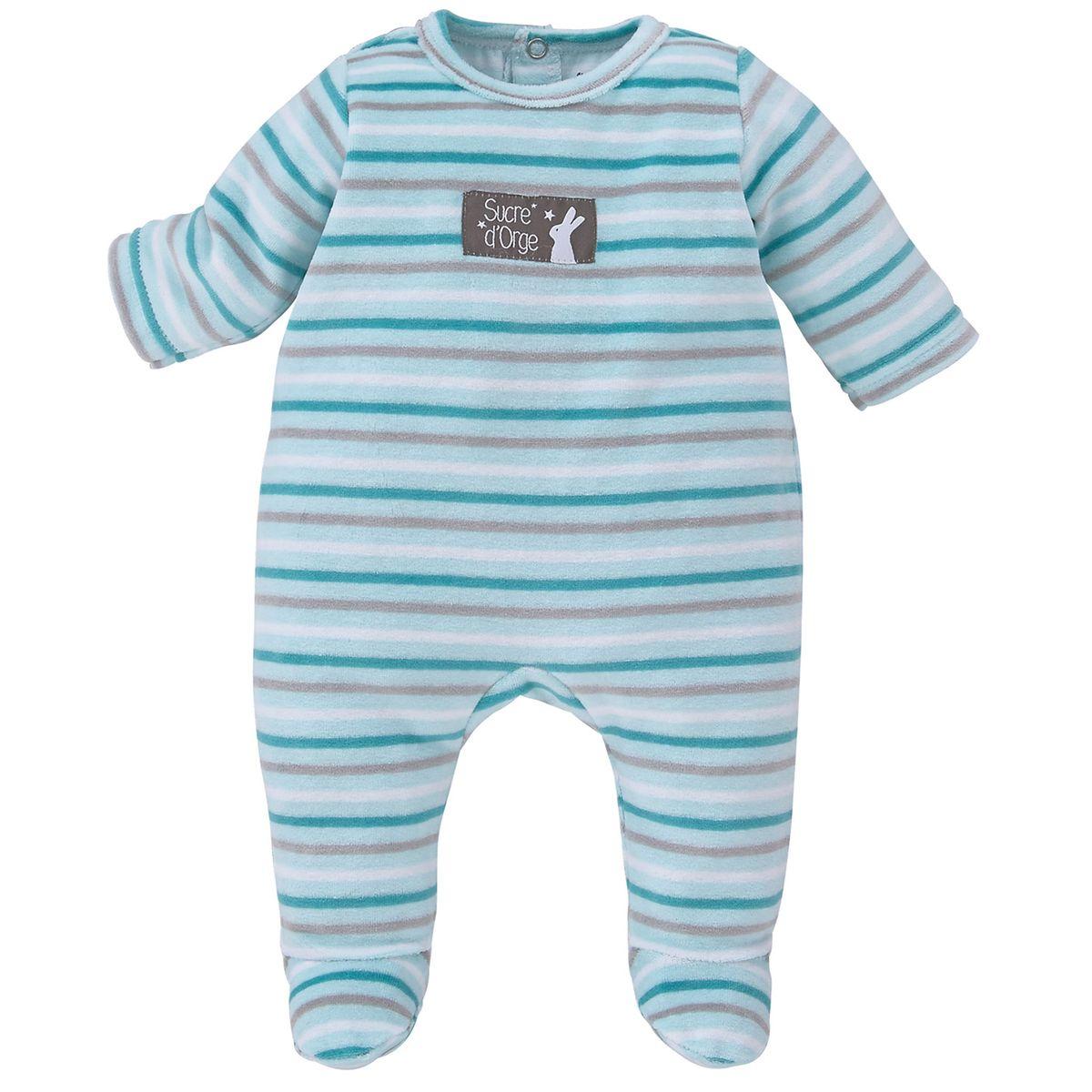 Pyjama velours rase bleu Sucre D'orge
