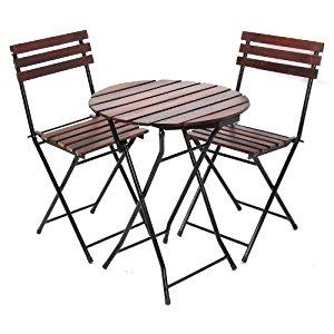 , ronde (Ø=60cm), chaise pliantes, métal+bois: Jardin