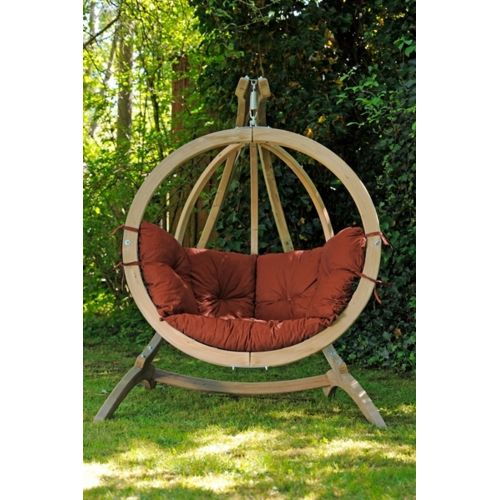 Amazonas Hamac fauteuil rond suspendu déco + socle coussin marron