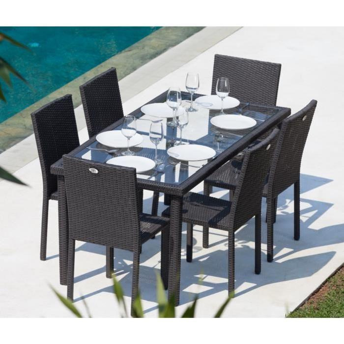 jardin composé de 7 pièces : 1 table 160 x 74 x 90 cm et 6 chaises