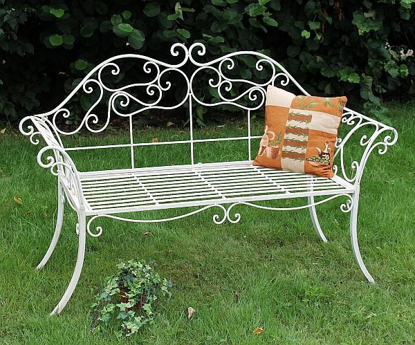 Banc DE Jardin Romance Blanc 111183 Banc 146cm EN FER Forgé Métal